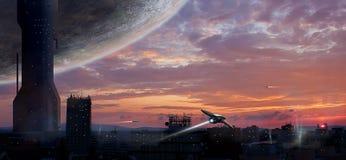 Stad sc.i-FI met planeet en spaceships, fotomanipulatie, Elem royalty-vrije illustratie