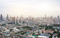 Stad Scape av Bangkok i morgon arkivbild