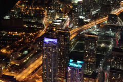 Stad scape bij nacht van Toronto, Canada Stock Foto's