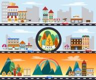 Stad scape de bouwplatteland en stedelijke het landschaps vectorillustratie van het stadsleven vector illustratie