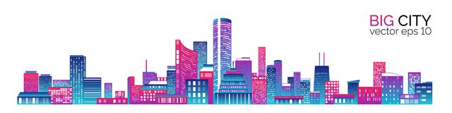 Stad scape met kleurrijke diverse gebouwen stock illustratie