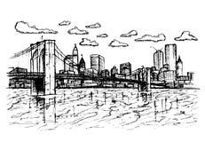 Stad schetsmatig op witte achtergrond Royalty-vrije Stock Afbeeldingen