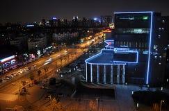 Stad Shanghai i natt, Kina, Asien Royaltyfria Bilder