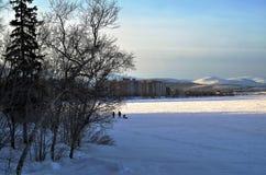 Stad sjö i parkera av för vinterkortslutning för liten stad north en polar dag Arkivfoto