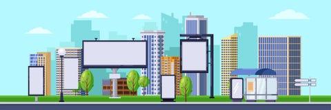 Stad som annonserar illustrationen Vektorcityscape med tomma affischtavlor och baner Affärsbefordran och annonsering royaltyfri illustrationer