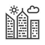Stad som bygger den tunna linjen vektorsymbol stock illustrationer