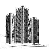 stad som isoleras över vita skyskrapor Royaltyfri Fotografi
