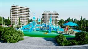Stad, speelplaats architecturale 3d visualisatie het 3d teruggeven Stock Foto's