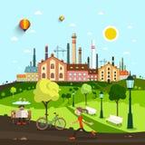 Stad, Stad met Oude Fabriek en Huizen Royalty-vrije Stock Afbeelding