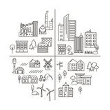 Stad, stads en plattelandsillustratie in lineaire stijl stock illustratie