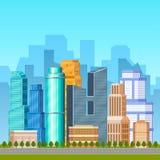 Stad, stedelijke scène met stadshorizon op achtergrond stock illustratie