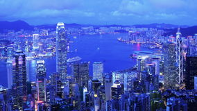 Stad Timelapse. Hong Kong. Åtsittande skott arkivfilmer