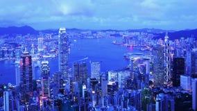Stad Timelapse. Hong Kong. Zooma sköt in arkivfilmer