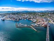 Stad Tromso, Norge Arkivfoto