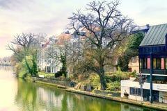 Stad Tuebingen. Flod Neckar Royaltyfria Foton
