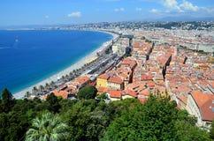 Stad van aardig in de baai van het de meningslandschap van Frankrijk Royalty-vrije Stock Fotografie