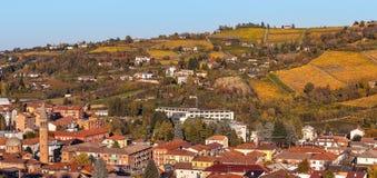Stad van Alba en herfstwijngaarden Stock Afbeelding