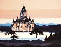 Stad van Bagan-olieverfschilderij stock illustratie