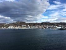 Stad van Bodø, Nordland, Noorwegen Stock Foto's