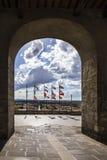 Stad van Castiglione del Lago in Umbrië, Italië Stock Fotografie
