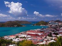 Stad van Charlotte Amalie en Haven royalty-vrije stock afbeelding