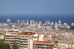 Stad van cityscape van Barcelona in Catalonië Stock Foto