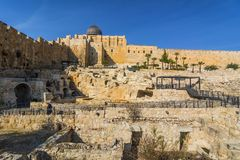 Stad van David, Jeruzalem, Israël Archeologische plaats van oud stock fotografie