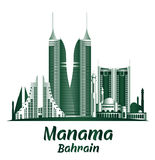 Stad van de Beroemde Gebouwen van Manama Bahrein stock illustratie