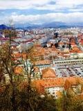 Stad van de gezichtspunten de oude stad in Ljubljana Slovenië Royalty-vrije Stock Foto