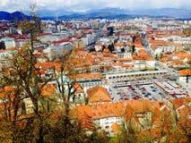 Stad van de gezichtspunten de oude stad in Ljubljana Slovenië Royalty-vrije Stock Foto's