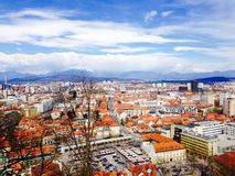 Stad van de gezichtspunten de oude stad in Ljubljana Slovenië Royalty-vrije Stock Fotografie
