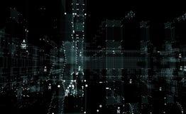 Stad van de hologram de futuristische interface Stock Afbeelding