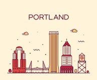Stad van de de kunststijl van Portland Oregon de V.S. de vector lineaire stock illustratie