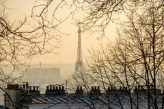 Stad van de mening van Parijs met de Toren van Eiffel en de Parijse daken Royalty-vrije Stock Fotografie
