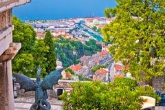 Stad van de mening van Rijeka van Trsat Royalty-vrije Stock Afbeeldingen