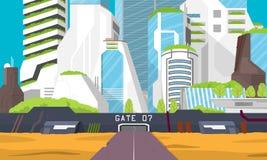 Stad van de toekomst Aren met de gebieden die op hen worden gevestigd - (vervangend huizen in onze vertegenwoordiging) Royalty-vrije Stock Afbeelding
