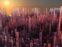 Stad van de toekomst, wolkenkrabbers, science fiction Stock Fotografie