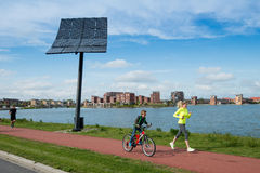 Stad van de zon - Solar energy - Heerhugowaard. Solar panel in an area of new housing estate in Heerhugowaard Holland. This city is well known in Holland Stock Photo