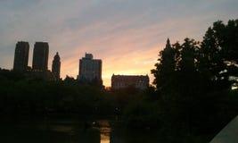 Stad van de zonsondergang magische New York van het Nyc de centrale park stock foto