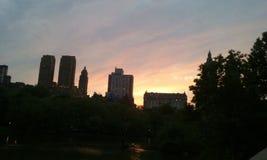 Stad van de zonsondergang magische New York van het Nyc de centrale park royalty-vrije stock foto
