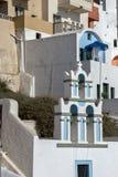 Stad van Fira, Santorini, Tira Island, Cycladen Stock Afbeeldingen