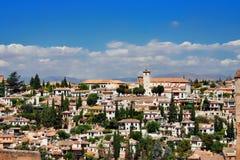 Stad van Granada, Spanje Genomen uit Alhambra Palace Royalty-vrije Stock Foto's