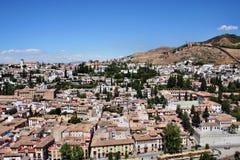 Stad van Granada, Spanje Genomen uit Alhambra Palace Royalty-vrije Stock Afbeelding