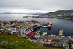 Stad van Hammerfest, Noorwegen stock foto