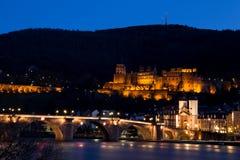 Stad van Heidelberg bij Nacht Royalty-vrije Stock Afbeelding