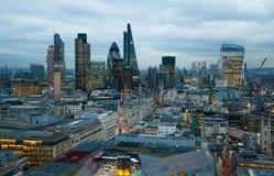 Stad van het bedrijfs en bankwezengebied van Londen, Het panorama van Londen bij zonreeks Stock Foto's