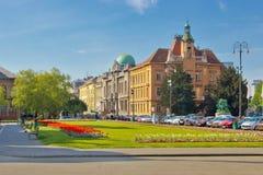 Stad van het kleurrijke vierkant van Zagreb stock foto