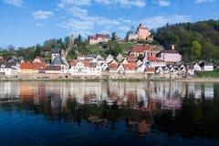 Stad van Hirschhorn Hesse Duitsland Royalty-vrije Stock Afbeeldingen