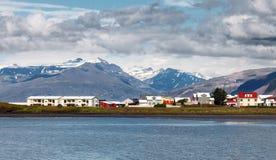 Stad van Hofn, Oost-IJsland Stock Foto