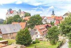 Stad van Hohnstein in Saksisch Zwitserland, Duitsland royalty-vrije stock afbeelding